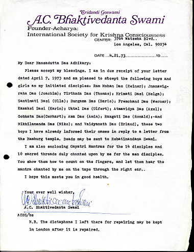 German Devotee Initiation Letter